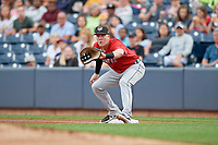 Erie SeaWolves first baseman Josh Lester (17) during an Eastern League game against the Akron RubberDucks on August 30, 2019 at Canal Park in Akron, Ohio.  Erie defeated Akron 3-2.  (Mike Janes/Four Seam Images)