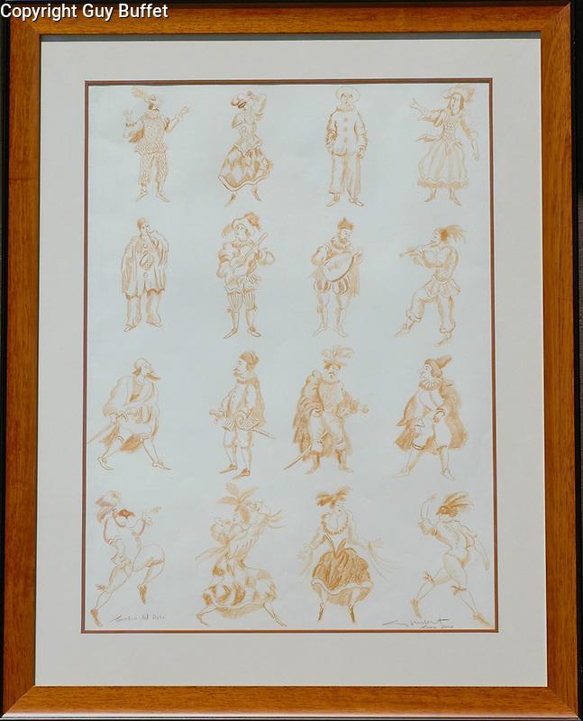 """""""Comedia del Arts""""<br /> 24x30 Sepia-colored Pencil Sketch on Paper ORIGINAL<br />  <br /> $9,000<br /> Created for the Spoleto Festival!"""