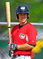 2 July 2011: Tri-City ValleyCats catcher Miles Hamblin awaits his turn in the batting cage prior to a game against the Vermont Lake Monsters at Centennial Field in Burlington, Vermont. The Monsters rallied from a 4-2 deficit to defeat the ValletCats 7-4 in NY Penn League action. Mandatory Credit: Ed Wolfstein Photo