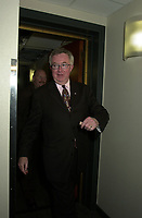 Montreal, 2000-10-30<br /> The leader of the Canadian Progressive-Conservative Party (PC) and former Canadian Prime-Minister ;  the Honorable Joe Clark was campaigning in Montreal (Quebec, CANADA) today (October 30, 2000).<br /> He is seen here leaving after an  interview and answering auditors at CJAD local radio,<br /> .<br /> Photo : Pierre Roussel - Images Distribution