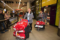 Moskou, Russia, Februari 7, 2016,  Fed Cup Russia-Netherlands, Team arriving at Schiphol<br /> Photo: Tennisimages/Henk Koster