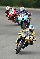 Danny Eslick leads a pack of motorcycles during Daytona Sportbike warmup at Vitginia International Raceway, Alton, VA, August 15, 2009.  (Photo by Brian Cleary/www.bcpix.com)