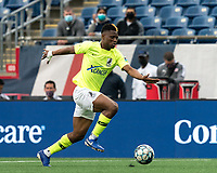 FOXBOROUGH, MA - MAY 12: Illal Osumanu #28 of Union Omaha clears the ball during a game between Union Omaha and New England Revolution II at Gillette Stadium on May 12, 2021 in Foxborough, Massachusetts.