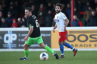 Sam Deering of Dagenham and Jordan Keane of Stockport during Dagenham & Redbridge vs Stockport County, Vanarama National League Football at the Chigwell Construction Stadium on 8th February 2020
