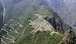 View of Machu Picchu from above on Wayna Picchu in Peru.