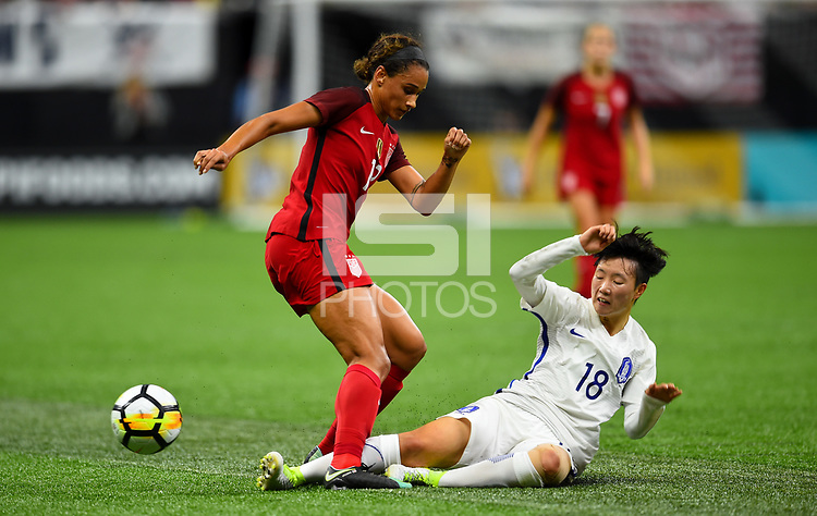 New Orleans, LA - Thursday October 19, 2017: Lynn Williams, Son Hwayeon during an International friendly match between the Women's National teams of the United States (USA) and South Korea (KOR) at Mercedes Benz Superdome.