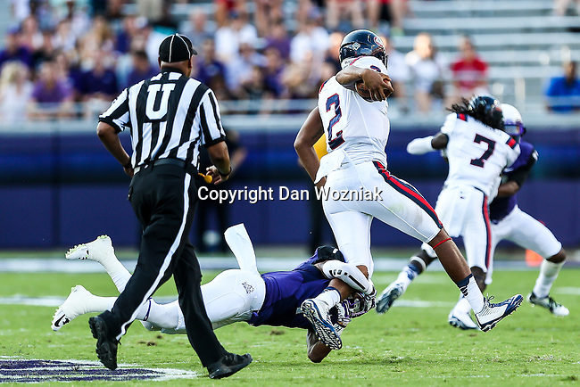 Samford Bulldogs quarterback Michael Eubank (2) in action during the game between the Samford Bulldogs and the TCU Horned Frogs at the Amon G. Carter Stadium in Fort Worth, Texas.  TCU leads Stamford 24 to 7 at halftime.