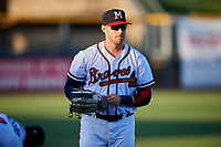 Mississippi Braves center fielder Michael Reed (28) warms up before a game against the Mobile BayBears on May 7, 2018 at Trustmark park in Pearl, Mississippi.  Mobile defeated Mississippi 5-0.  (Mike Janes/Four Seam Images)