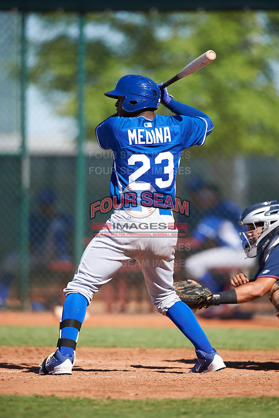 Kansas City Royals Angel Medina (23) during an Instructional League game against the Cleveland Indians on October 11, 2016 at the Cleveland Indians Player Development Complex in Goodyear, Arizona.  (Mike Janes/Four Seam Images)