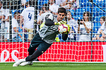 Goalkeeper Thibaut Courtois of Real Madrid warms up prior to the La Liga 2018-19 match between Real Madrid and CD Leganes at Estadio Santiago Bernabeu on September 01 2018 in Madrid, Spain. Photo by Diego Souto / Power Sport Images