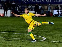 5th April 2021; Palmerston Park, Dumfries, Scotland; Scottish Cup Third Round, Queen of the South versus Hibernian; Josh Doig of Hibernian takes a shot at goal from the top of the box