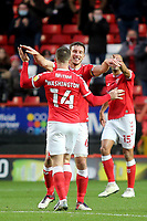Conor Washington celebrates scoring Charlton's opening goal with Jason Pearce during Charlton Athletic vs AFC Wimbledon, Sky Bet EFL League 1 Football at The Valley on 12th December 2020