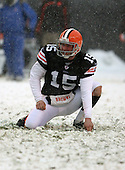 December 16th, 2007:  Cleveland Browns punter Dave Zastudil (15) gets ready to hold for a 49-yard field goal attempt by Phil Dawson (4) at Cleveland Browns Stadium in Cleveland, Ohio.  The Browns shutout the Bills 8-0 to inch closer to clinching a playoff spot.  Photo Copyright Mike Janes Photography.