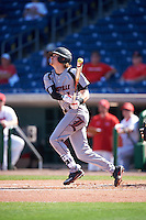 Louisville Cardinals second baseman Devin Mann (7) at bat during a game against the Ball State Cardinals on February 19, 2017 at Spectrum Field in Clearwater, Florida.  Louisville defeated Ball State 10-4.  (Mike Janes/Four Seam Images)