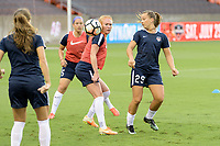 Houston, TX - Saturday July 15, 2017: Tori Huster and Meggie Dougherty Howard warming up during a regular season National Women's Soccer League (NWSL) match between the Houston Dash and the Washington Spirit at BBVA Compass Stadium.