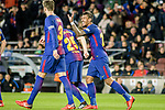 Paulinho Maciel of FC Barcelona (R) celebrating his score with his team during the La Liga 2017-18 match between FC Barcelona and Deportivo La Coruna at Camp Nou Stadium on 17 December 2017 in Barcelona, Spain. Photo by Vicens Gimenez / Power Sport Images