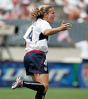 USA's Cat Whitehill celebrates a goal during a 5-0 victory over Ireland in San Diego, California, Sunday, July 23, 2006.