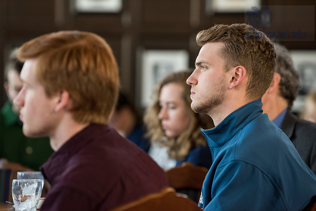 """April 19, 2018; Lunch and lecture by author Peter Edelman of """"Not a Crime to be Poor,""""  hosted by Center for Ethics and Culture in the Oak Room. (Photo by Barbara Johnston/University of Notre Dame)"""