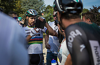 World Champion Peter Sagan (SVK/Bora Hansgrohe) looking the repeat to be sure he won the close sprint with Phil Bauhaus. <br /> <br /> Binckbank Tour 2017 (UCI World Tour)<br /> Stage 1: Breda (NL) > Venray (NL) 169,8km