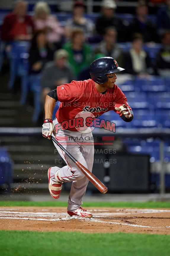 Portland Sea Dogs catcher Jhon Nunez (20) grounds out during a game against the Binghamton Rumble Ponies on August 31, 2018 at NYSEG Stadium in Binghamton, New York.  Portland defeated Binghamton 4-1.  (Mike Janes/Four Seam Images)