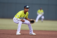 Third baseman Mark Vientos (13) of the Columbia Fireflies plays defense in a game against the Charleston RiverDogs on Saturday, April 6, 2019, at Segra Park in Columbia, South Carolina. Columbia won, 3-2. (Tom Priddy/Four Seam Images)