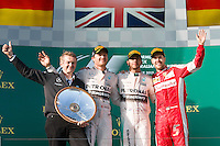 March 15, 2015: Lewis Hamilton (GBR) #44 (1st), Nico Rosberg (DEU) #6 (2nd) and Sebastian Vettel (DEU) #5 (3rd) celebrate on the podium at the 2015 Australian Formula One Grand Prix at Albert Park, Melbourne, Australia. Photo Sydney Low
