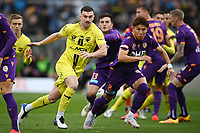 30th May 2021; Auckland, New Zealand;  Tim Payne (L) and Kosuke Ota chase a through ball; Wellington Phoenix versus Perth Glory, A-League football at Eden Park.