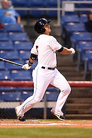 Binghamton Mets outfielder T.J. Rivera (5) at bat during a game against the Bowie Baysox on August 3, 2014 at NYSEG Stadium in Binghamton, New York.  Bowie defeated Binghamton 8-2.  (Mike Janes/Four Seam Images)