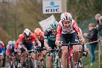 Tiesj Benoot (BEL/Lotto-Soudal) up the Molenberg<br /> <br /> 74th Omloop Het Nieuwsblad 2019 <br /> Gent to Ninove (BEL): 200km<br /> <br /> ©kramon