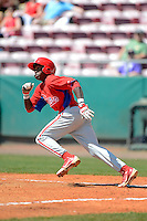 Philadelphia Phillies infielder Roman Quinn (4) during a minor league Spring Training game against the Atlanta Braves at Al Lang Field on March 14, 2013 in St. Petersburg, Florida.  (Mike Janes/Four Seam Images)