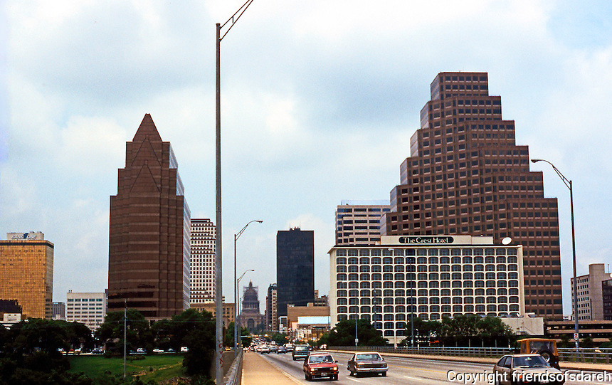 Austin:  Austin Skyline from Congress St. Bridge. The Capitol Building at the top of the street is just visible.