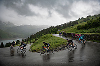 Richard Carapaz (ECU/INEOS Grenadiers) descending the Col du Pré (HC/1748m) towards the Barrage de Roselend in, yet again, grim conditions.<br /> <br /> Stage 9 from Cluses to Tignes (145km)<br /> 108th Tour de France 2021 (2.UWT)<br /> <br /> ©kramon
