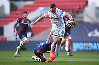 23rd April 2021; Ashton Gate Stadium, Bristol, England; Premiership Rugby Union, Bristol Bears versus Exeter Chiefs; Jacques Vermeulen of Exeter Chiefs offloads out of the tackle from Luke Morahan of Bristol Bears