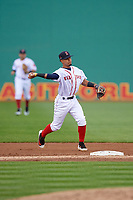 Salem Red Sox shortstop Santiago Espinal (5) throws to first base during the first game of a doubleheader against the Potomac Nationals on June 11, 2018 at Haley Toyota Field in Salem, Virginia.  Potomac defeated Salem 9-4.  (Mike Janes/Four Seam Images)