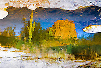 """""""POSTCARD FROM THE EDGE""""<br /> <br /> Post card from the edge of a pothole in the river at Tortilla Flats. Cactus, mountains and blue sky in this desert landscape are reflected in the water. ORIGINAL 24 X 36 GALLERY WRAPPED CANVAS SIGNED BY THE ARTIST $2,500. CONTACT FOR AVAILABILITY."""