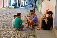 Cuba, Trinidad.  Boys Talking, Street Scene.