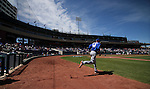 Zach Wheeler heads to the mound for the Las Vegas 51s during a minor league baseball game against the Reno Aces in Reno, Nev., on Tuesday, April 30, 2013. (AP Photo/Cathleen Allison)