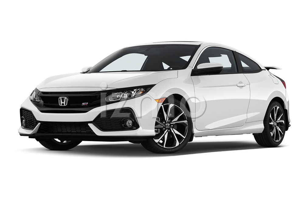 Stock pictures of low aggressive front three quarter view of 2019 Honda Civic-Si-Coupe - 2 Door Coupe Low Aggressive