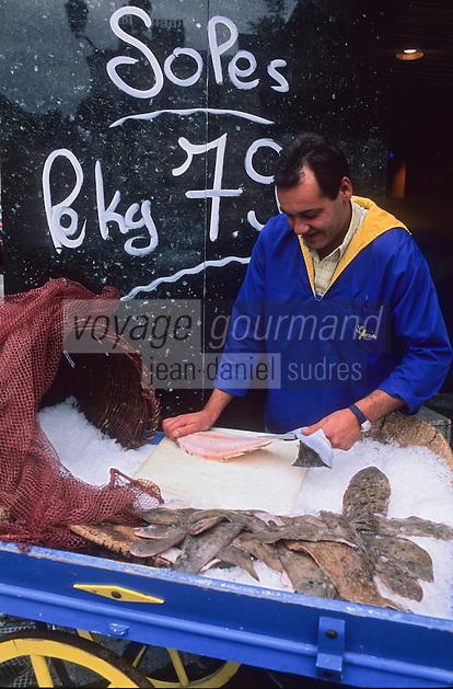 Europe/France/Normandie/Haute-Normandie/76/Seine-Maritime/Dieppe: Poissonnier préparant une sole [Non destiné à un usage publicitaire - Not intended for an advertising use]