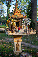 Cambodia, Siem Reap.  Sidewalk Shrine to Spirits for Good and Evil, opposite Preah Ang Chek and Preah Ang Chorm Temple.