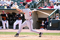 April 17th, 2008:  Infielder Scott Thorman (20) of the Richmond Braves, Class-AAA affiliate of the Atlanta Braves, at bat during a game at Frontier Field in Rochester, NY.  Photo by:  Mike Janes/Four Seam Images