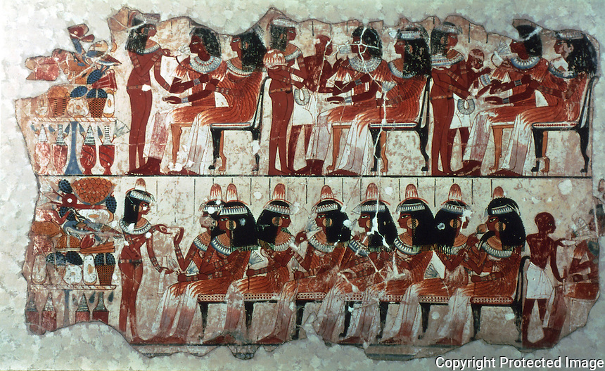 Egyptian Tomb Paintings:  Guests at a banquet, c. 1400 BC.  Trustees of the British Museum.  Reference only.