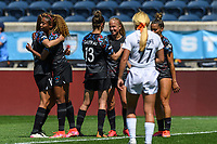 BRIDGEVIEW, IL - JUNE 5: Morgan Gautrat #13 and Alyssa Mautz of the Chicago Red Stars celebrate after a game between North Carolina Courage and Chicago Red Stars at SeatGeek Stadium on June 5, 2021 in Bridgeview, Illinois.