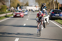 Bob JUNGELS (LUX/Deceuninck-Quick Step) putting in a massive solo effort trying to stay ahead<br /> <br /> 62nd E3 BinckBank Classic (Harelbeke) 2019 <br /> One day race (1.UWT) from Harelbeke to Harelbeke (204km)<br /> <br /> ©kramon