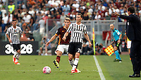 Calcio, Serie A: Roma vs Juventus. Roma, stadio Olimpico, 30 agosto 2015.<br /> Juventus' Stephan Lichsteiner, right, is challenged by Roma's Lucas Digne during the Italian Serie A football match between Roma and Juventus at Rome's Olympic stadium, 30 August 2015.<br /> UPDATE IMAGES PRESS/Isabella Bonotto