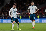 Argentina's Leo Messi (L) and Leandro Paredes (R) during International Adidas Cup match between Argentina and Venezuela at Wanda Metropolitano Stadium in Madrid, Spain. March 22, 2019. (ALTERPHOTOS/A. Perez Meca)