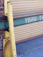 """""""Yours"""" spraypainted on I-beam<br />"""
