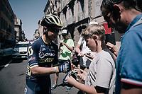 Johan Esteban Chaves (COL/ORICA-Scott) signing autographs pre-race<br /> <br /> 104th Tour de France 2017<br /> Stage 16 - Le Puy-en-Velay › Romans-sur-Isère (165km)