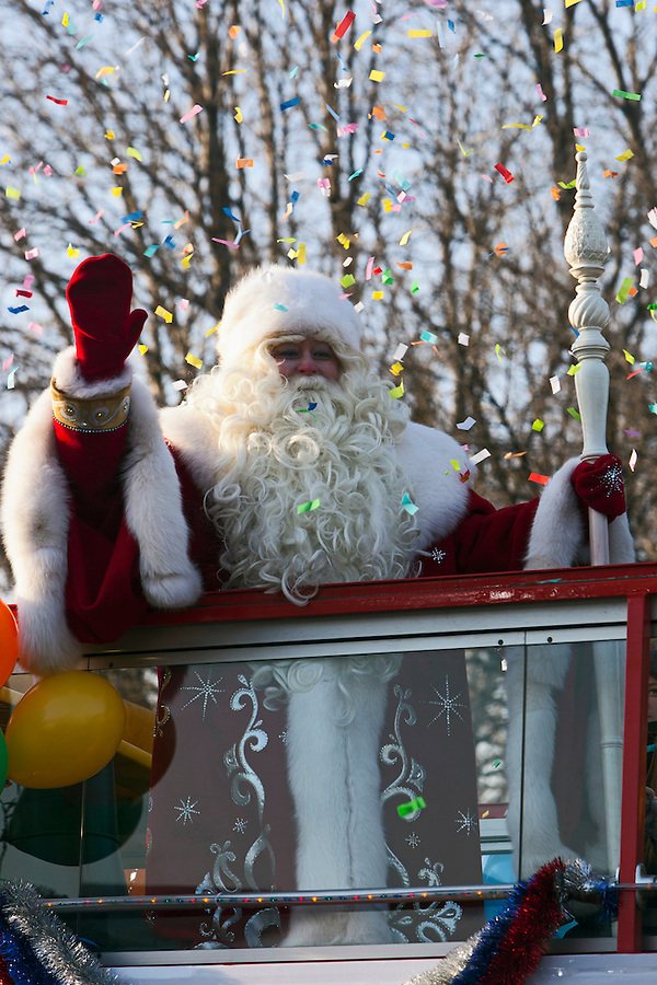 Moscow, Russia, 24/12/2012..In temperatures of below minus 20 Centigrade Moscow's official Ded Moroz, or Father Frost, arrives at Gorky Park on an open top bus to launch the city's forthcoming New Year celebrations..