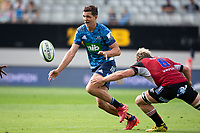 March 14th 2020, Eden Park, Auckland, New Zealand;  Blues winger Matt Duffie as the ball is passed off against the Lions, during the Super Rugby match between the Blues and the Lions, held at Eden Park, Auckland, New Zealand.